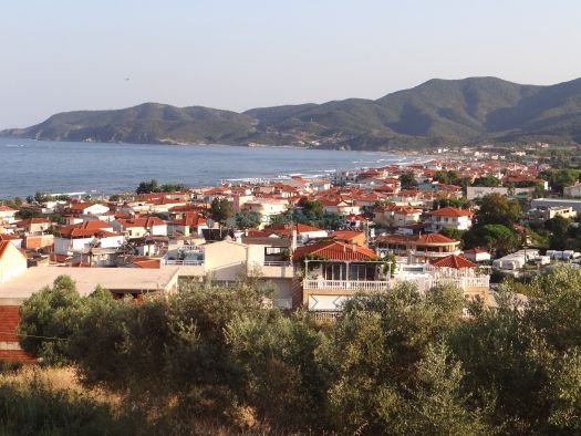Panoramic view of  Sarti village on the east side of the second leg of Chalkidiki