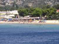 Thick sand and crystal clear waters on the beach of Toroni on the 2nd leg of Chalkidiki