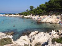 The rocks in Kavourotripes filled with visitors on the second leg of Chalkidiki
