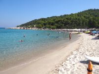 Platanitsi beach is ideal for diving and also features a beach bar on its one side