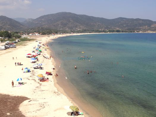 The vast sandy beach of Sykia on the east side of Sithonia, Chalkidiki