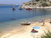 The picturesque image of the beach Tourkolimnionas close to Sykia in Sithonia, Chalkidiki