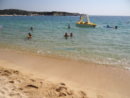 Crystal clear waters and fine sand on the beach of the village Kalamitsi, Chalkidiki