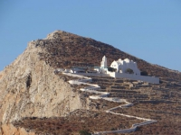 The church of Panagia perched on the hill above Chora, Folegandros