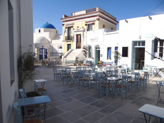 The picturesque square of Agios Athanasios in Chora