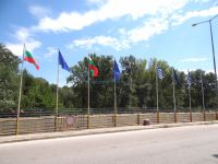 The flags of Greece, Bulgaria and European Union in the greek-bulgarian borders