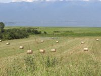 Balls of hay, farmlands and in the background the Kerkini Lake in the village Koryfoudi