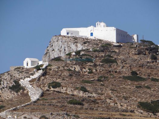 The Monastery of Zoodochou Pigis is built on a hill above Chora in Sikinos