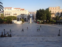 Miaouli Square is the heart of Hermoupolis town