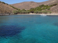 Clear blue waters and tamarisk trees on the beach Gria Spilia in northern Syros