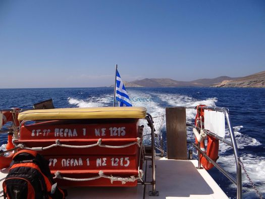 The boat Perla makes journeys to the northern beaches of Syros