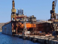 The cranes of Neorio (shipyard) give to the port of Syros a particular character